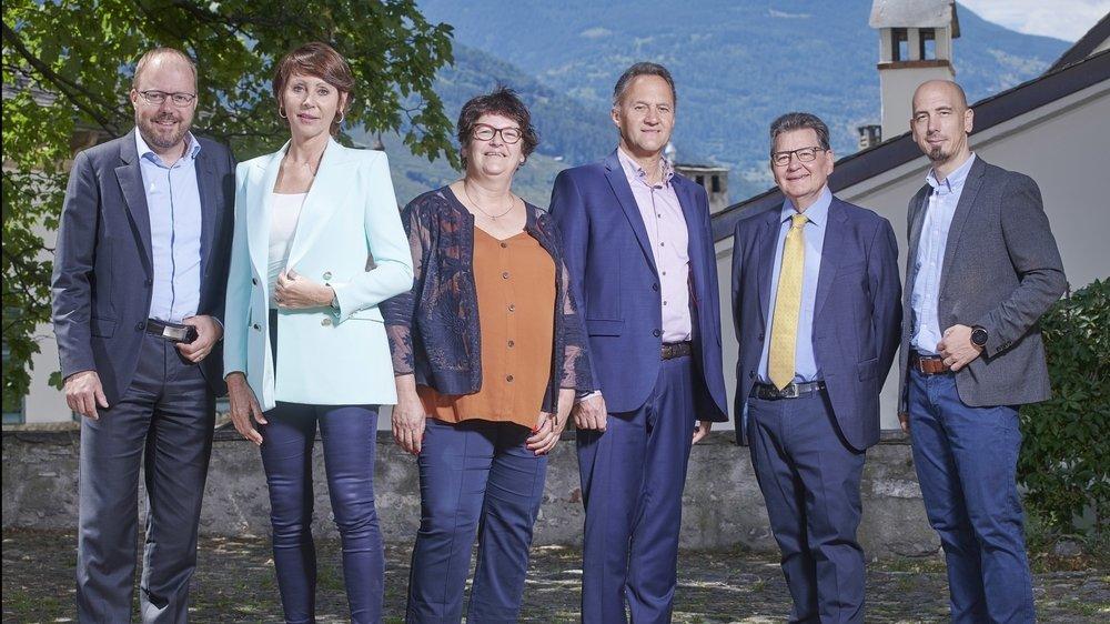 De Gauche à droite : Raphaël Zuchuat, Carole Schmid, Claire-Lise Bonvin, Christian Bitschnau, Philippe Cherix et Sébastien Gattlen