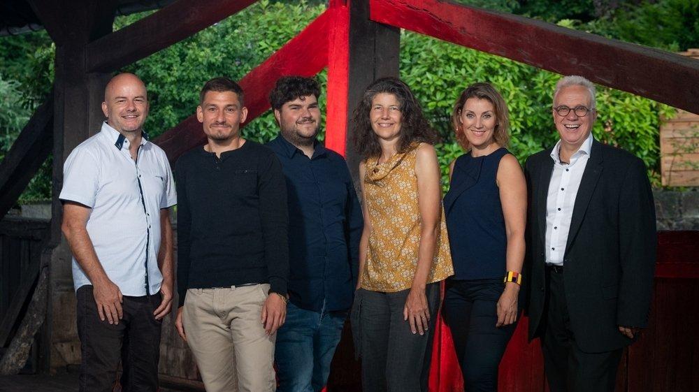 Les candidats, de gauche à droite: Yannick Délitroz, Adrien D'Errico, Olivier Ostrini, Anne-Laurence Franz, Aferdita Bogiqi et Robert Burri.