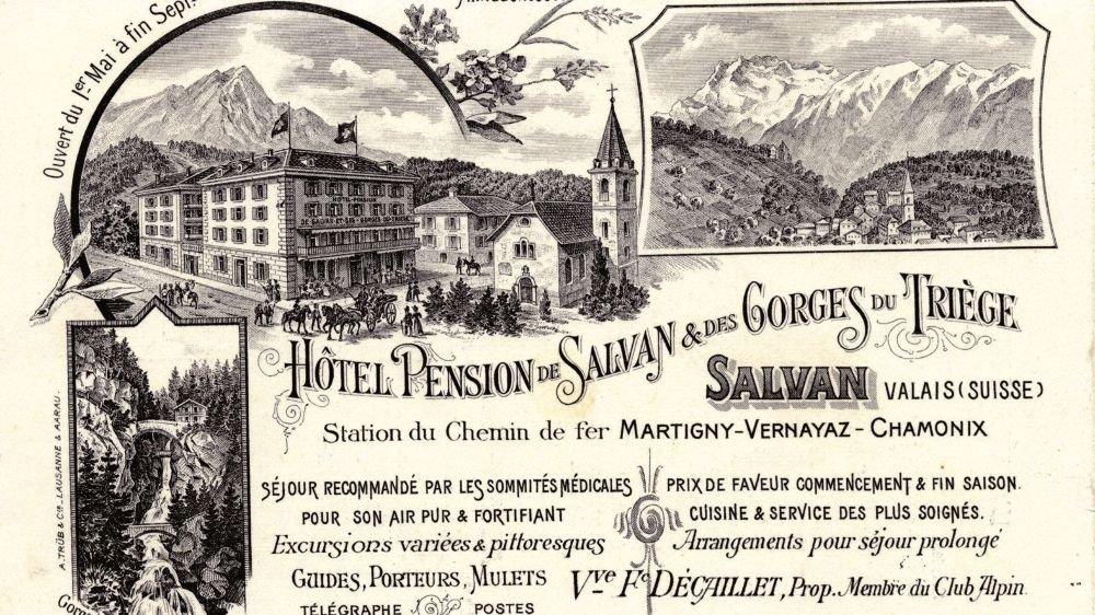 Une carte publicitaire de l'hôtel des Gorges du Triège pour la station dite climatérique de Salvan,  dans les années 1900.
