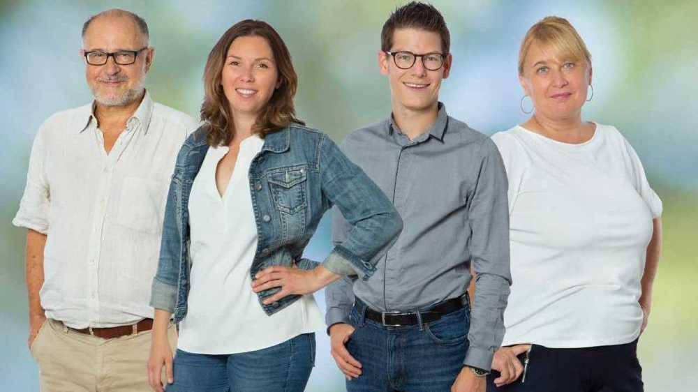 Stéphane Andereggen, Daria Moulin, Jérémy Savioz et Maryse Bétrisey-Zufferey: les quatre candidats verts au conseil communal de Sierre.