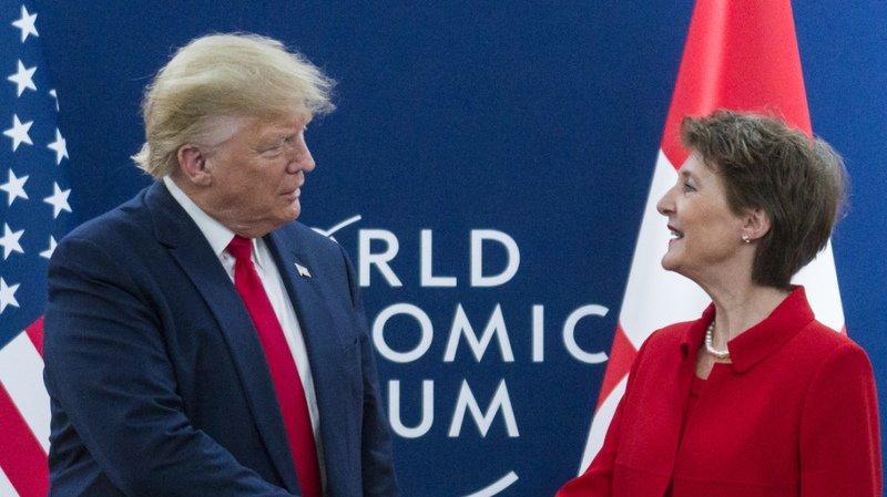 Donald Trump avait rencontré Simonetta Sommaruga lors du dernier Forum économique mondial (WEF) de Davis, en janvier (archives).
