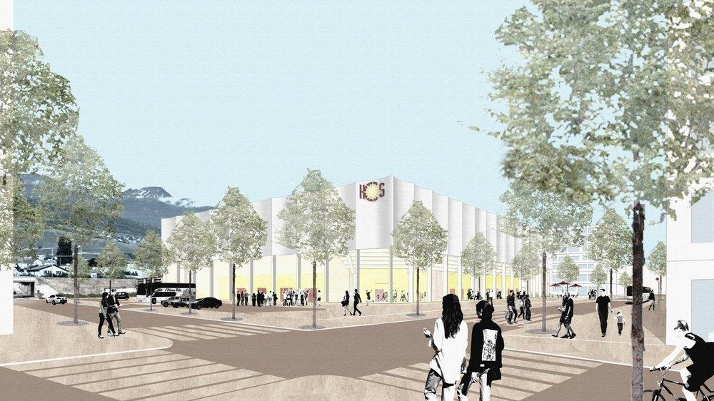 La future patinoire de la ville de Sierre prendra place dans le quartier des Condémines.