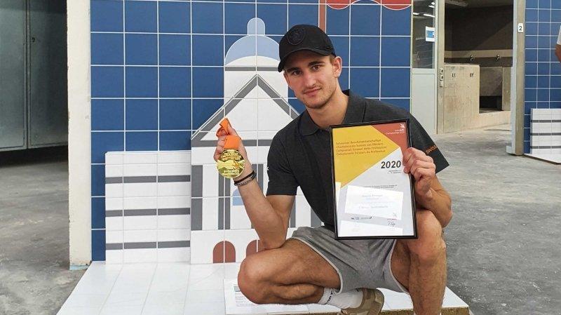 Amarin Prediger a été sacré meilleur carreleur du pays lors des SwissSkills 2020