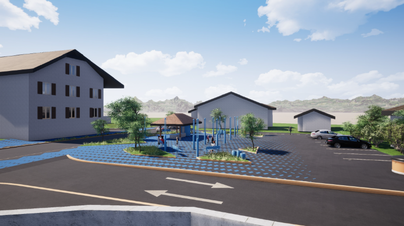 La future place du village d'Illarsaz pourrait ressembler à ce projet.