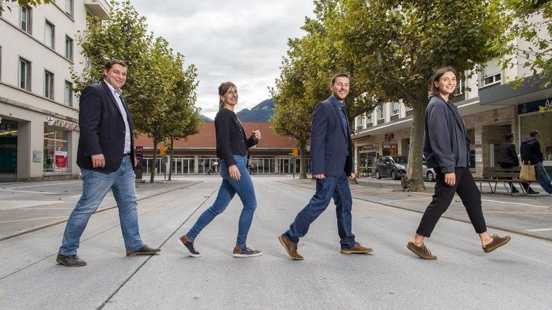 Pierre Berthod, Morgane Rothacker, Pierre Kenzelmann et Jade Rudler ont levé le voile sur le projet participatif de réaménagement de l'Avenue de la Gare de Sierre.