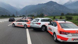 Valais: de gros moyens engagés sur l'autoroute A9 pour stopper une voiture volée